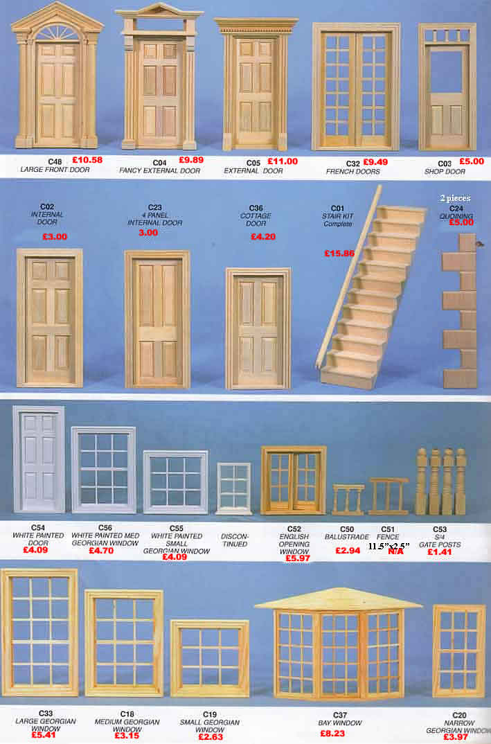 Dolls house windows doors stairs window fittings for House windows for sale online